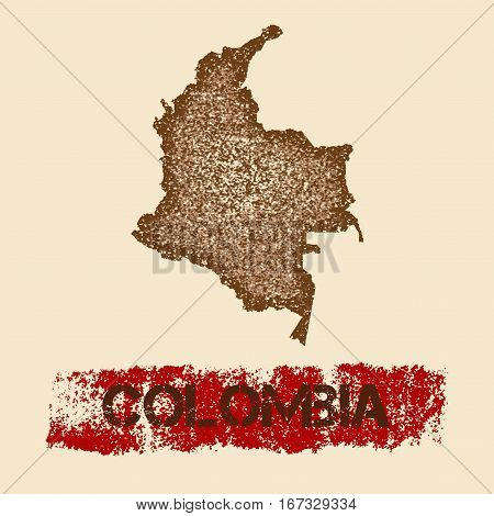 Colombia Distressed Map. Grunge Patriotic Poster With Textured Country Ink Stamp And Roller Paint Ma
