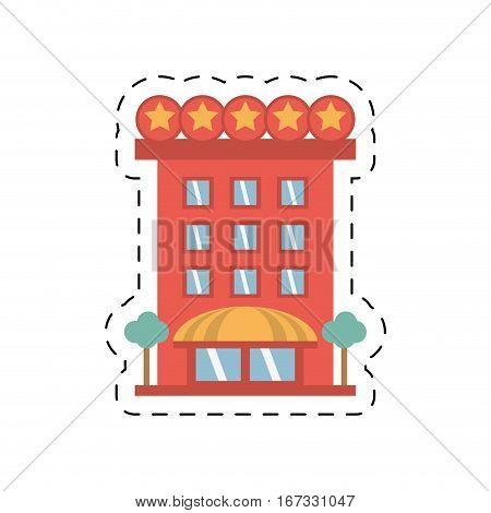 building hotel lodging stars cut line vector illustration eps 10