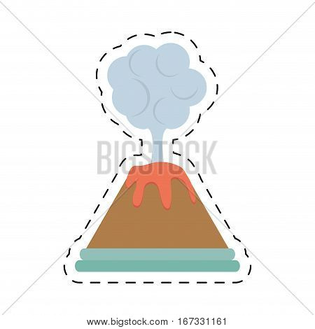 volcan eruption lava mountain cloud cut line vector illustration eps 10