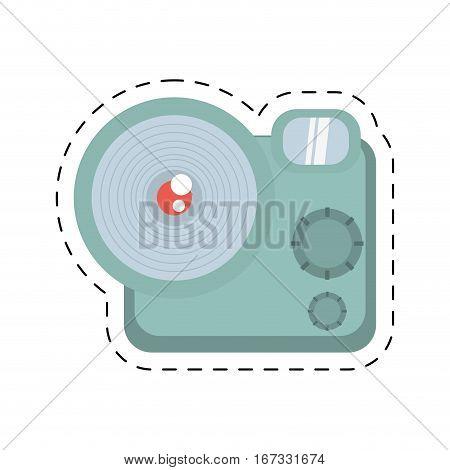 photographic camera picture travel equipment cut line vector illustration eps 10