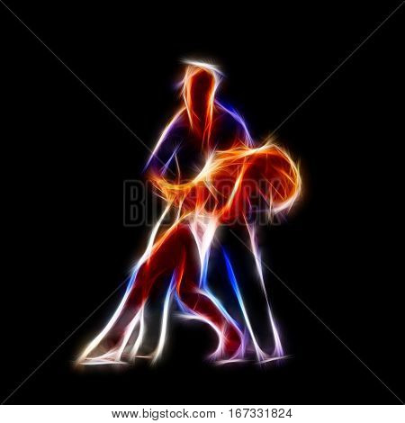 Passionate couple dancing glowing concept illustration computer generated abstract background 3D render