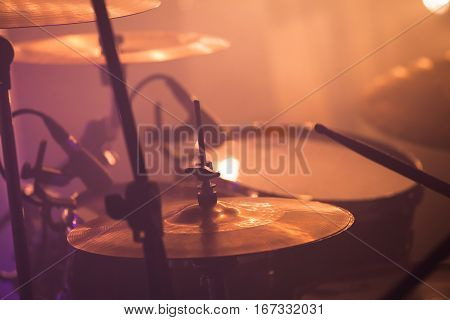 Drummer Plays On Rock Drum Set, Rock Music
