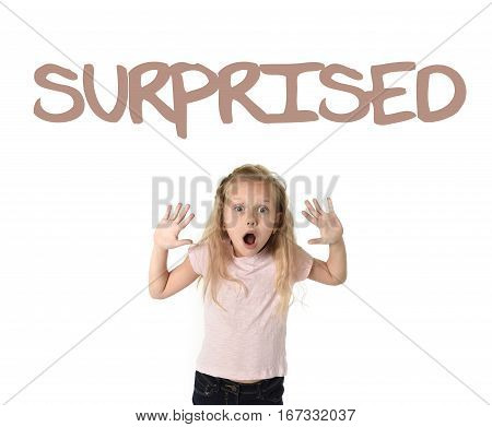 English learning vocabulary school card with the word surprise and portrait of sweet beautiful little child girl amazed in shock and wonder isolated on white background