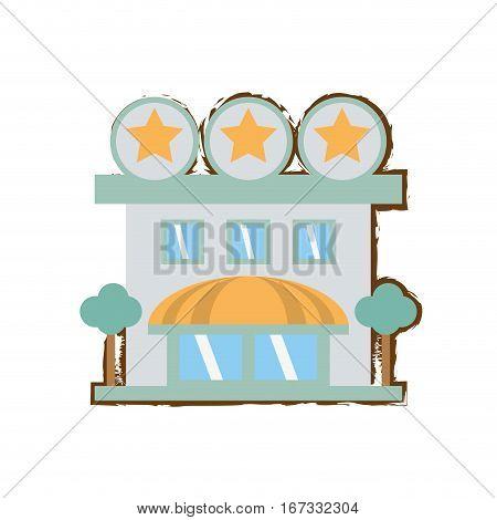 building hotel lodging stars color sketch vector illustration eps 10