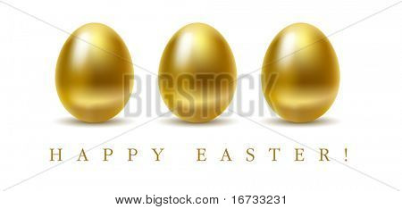 Happy easter greetings card with golden eggs on white background.