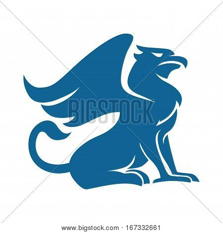 Design of Griffin animal mythology with blue silhouette