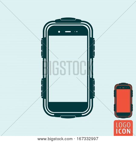 Protected smartphone icon. Mobile or cell phone with protective case. Vector illustration.