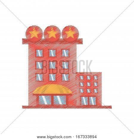 drawing building hotel lodging stars vector illustration eps 10