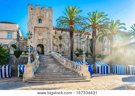 View at old city gate in Korcula town, famous sightseeing spot in Croatia, european travel places.