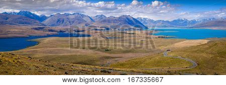 Panoramic Landscape View Of Lakes And Mountains, Lake Tekapo, Nz