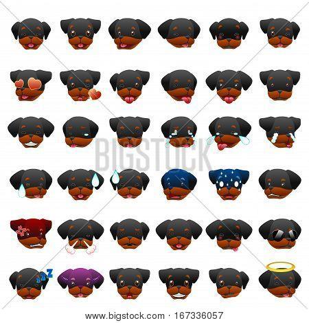 A vector illustration of Rottweilers Dog Emoji Emoticon Expression