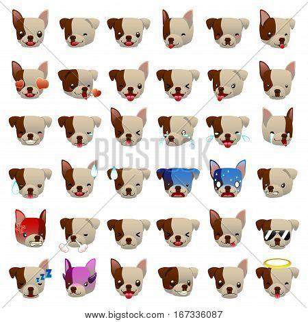 A vector illustration of Pitbulls Dog Emoji Emoticon Expression