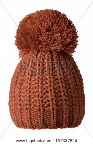 Women's Knitted Hat Isolated On White Background.hat With Pompon. Brown  Hat .