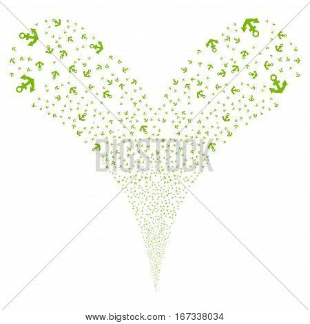 Anchor fireworks stream. Vector illustration style is flat eco green iconic symbols on a white background. Object double fountain organized from random pictograms.