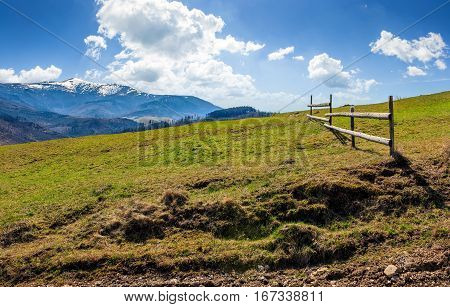 Fence On Rural Field In Spring