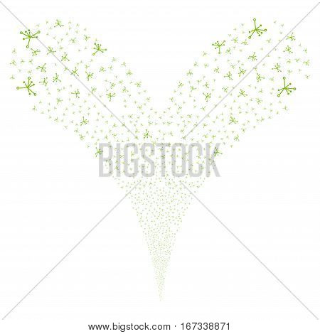 Big Bang fireworks stream. Vector illustration style is flat eco green iconic symbols on a white background. Object double fountain made from random icons.