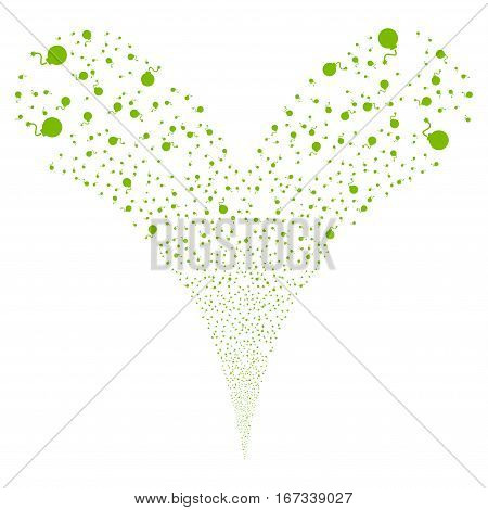 Bomb fireworks stream. Vector illustration style is flat eco green iconic symbols on a white background. Object double fountain combined from random icons.