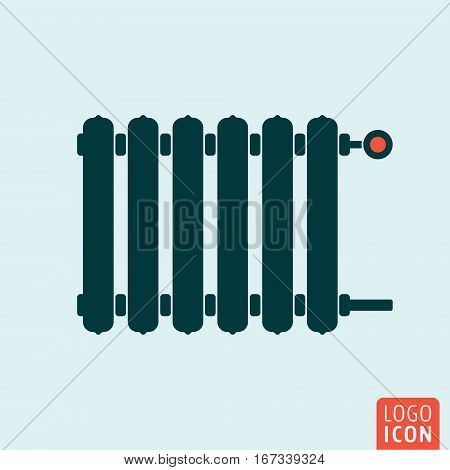 Radiator icon. Heating radiator with adjuster of warming. Vector illustration.