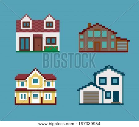 Set of Cute Vector Various Pixel Houses on blue background