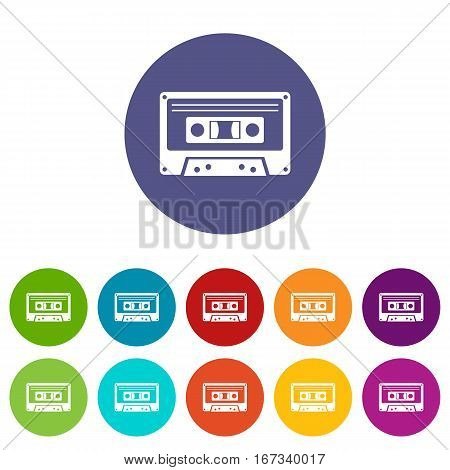 Cassette tape set icons in different colors isolated on white background