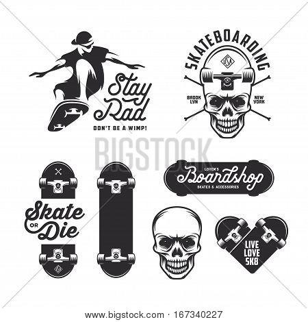 Skateboarding labels badges set. Quotes about skating. Skat of die. Live love sk8. Design elements for posters, t-shirt prints, emblems. Vector vintage illustration.
