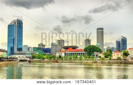 View of the Singapore central government district over the river