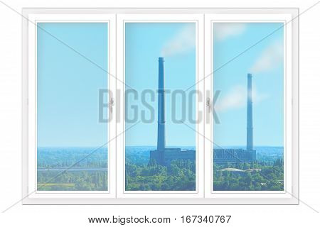 plastic window isolated with view of nature and pollution of environment by industry. Window isolated on the white background