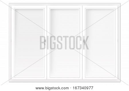 three-leaved window isolated on the white background
