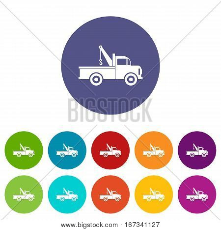 Car towing truck set icons in different colors isolated on white background