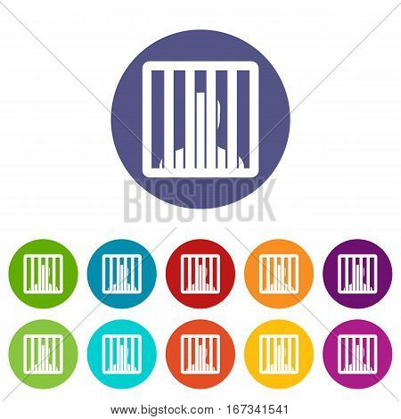 Man behind jail bars set icons in different colors isolated on white background