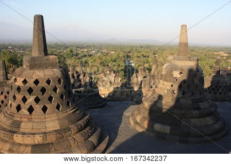 Borobudur Buddha Temple Java Indonesia Sun Ancient