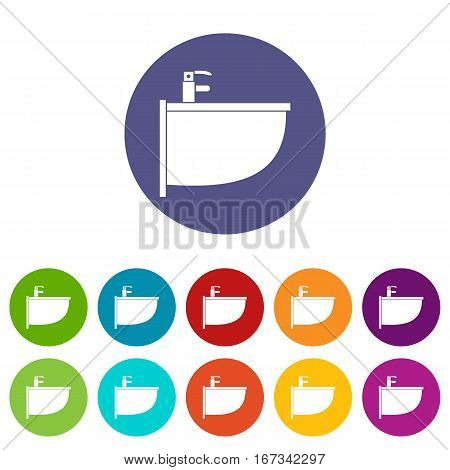 Bidet set icons in different colors isolated on white background