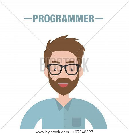 Bearded programmer isolated. Programmer in glasses with smile