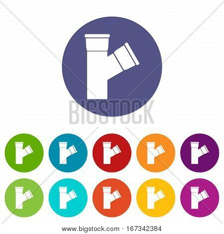 Plastic pipe connection set icons in different colors isolated on white background