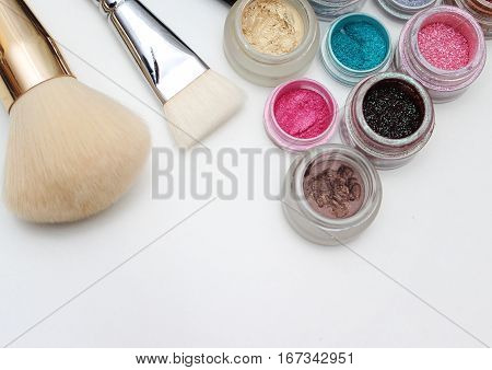 Brushes And Makeup Pigments.