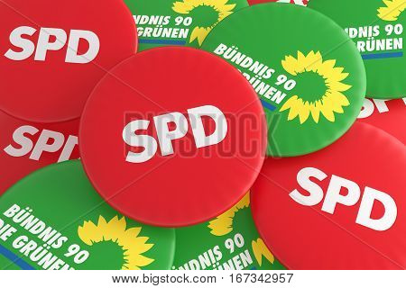 BERLIN GERMANY - JANUARY 29 2017: German Politics Coalition Concept: Pile of Buttons With The Logo of The Political Parties SPD And The Greens 3d illustration