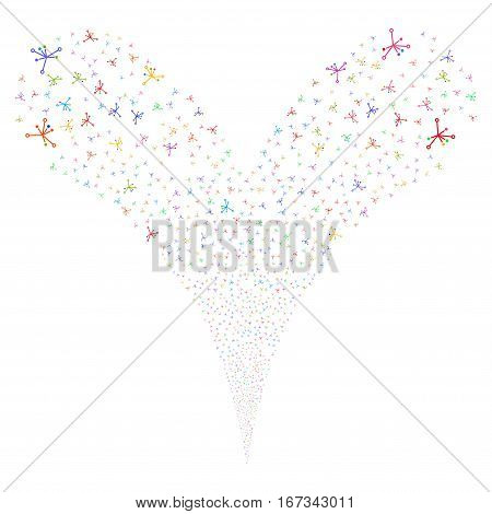 Big Bang fireworks stream. Vector illustration style is flat bright multicolored iconic symbols on a white background. Object double fountain combined from random pictograms.