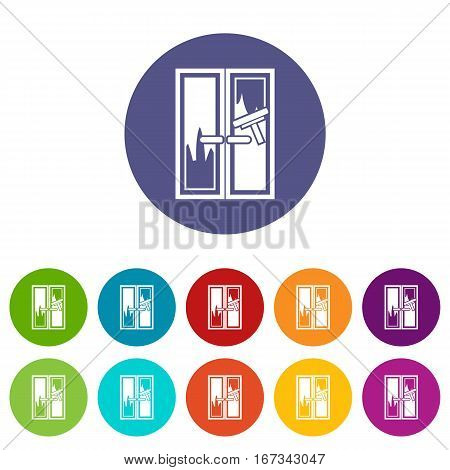 Window cleaning set icons in different colors isolated on white background