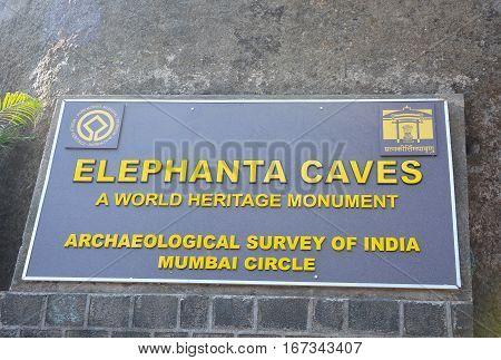 Elephanta Caves Sign