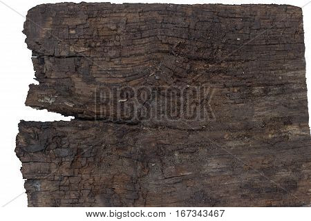 texture of the old rotten boards on a white background. board with cracks