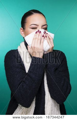 beautiful girl having winter cold season symptoms concept