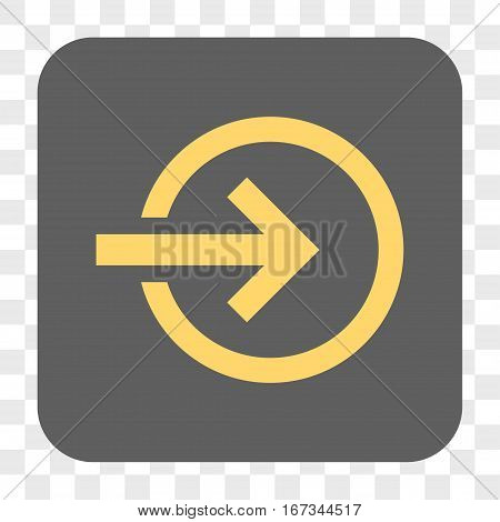 Import interface toolbar button. Vector icon style is a flat symbol in a rounded square button yellow and gray colors chess transparent background.