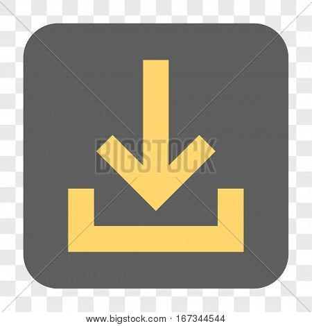 Inbox interface toolbar button. Vector icon style is a flat symbol on a rounded square button yellow and gray colors chess transparent background.
