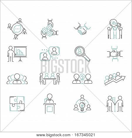 Business teamwork teambuilding thin line icons. Work command management thin lines and human resources sign concept vector. Communication strategy organization.