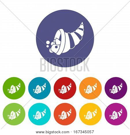 Thanksgiving cornucopia set icons in different colors isolated on white background