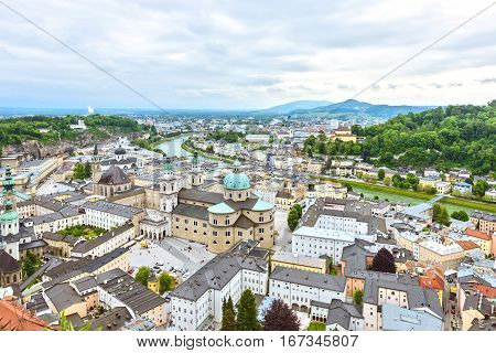 Salzburg Cathedral from the Hohensalzburg fortress. Historic center of the city, South facade, Austria