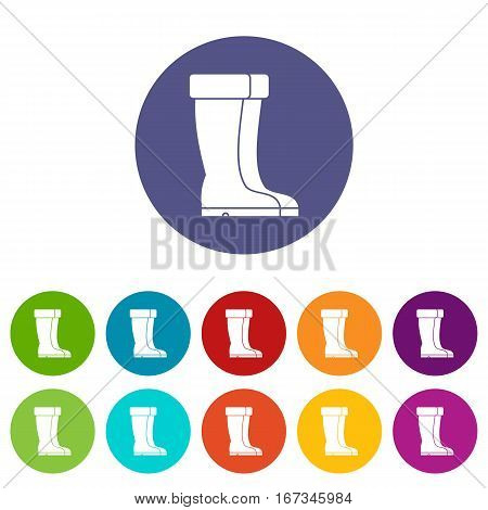 Winter shoes set icons in different colors isolated on white background