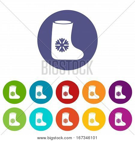 Felt boots set icons in different colors isolated on white background