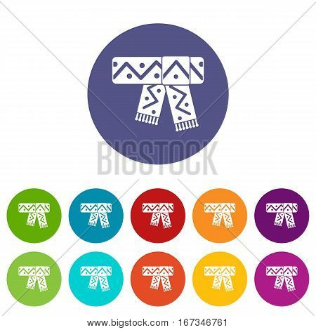 Knitted scarf with pattern set icons in different colors isolated on white background