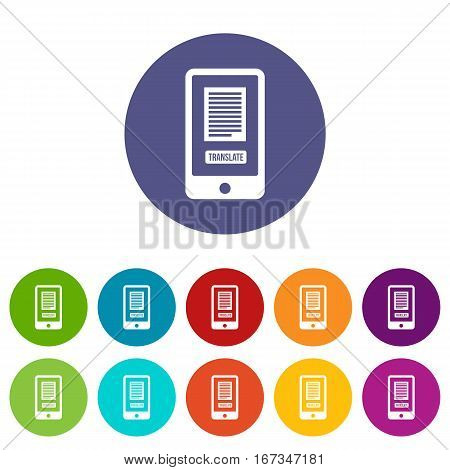 Translate application on a smartphone set icons in different colors isolated on white background
